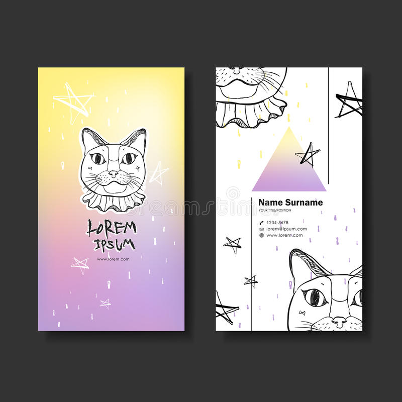 Vector business card design of hand drawn cat vector illustration