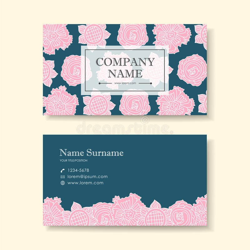 Vector Business Card Design Template Of Pink Flower Stock Vector ...