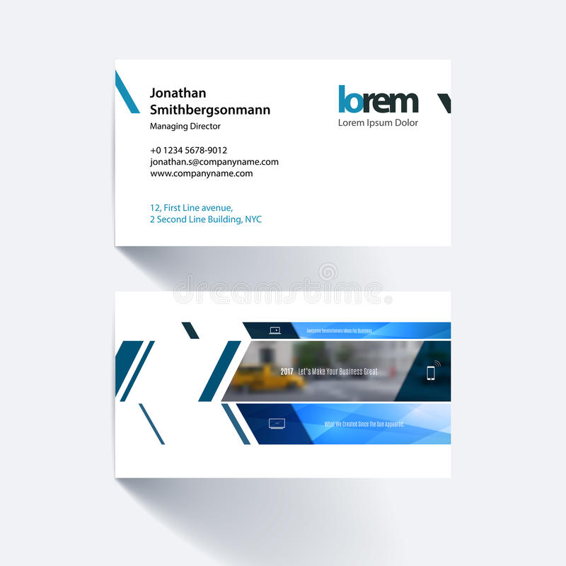 Vector business card template with banner and diagonals, for eng. Ineering, business, building, consulting. Simple and clean design. Creative corporate identity stock illustration