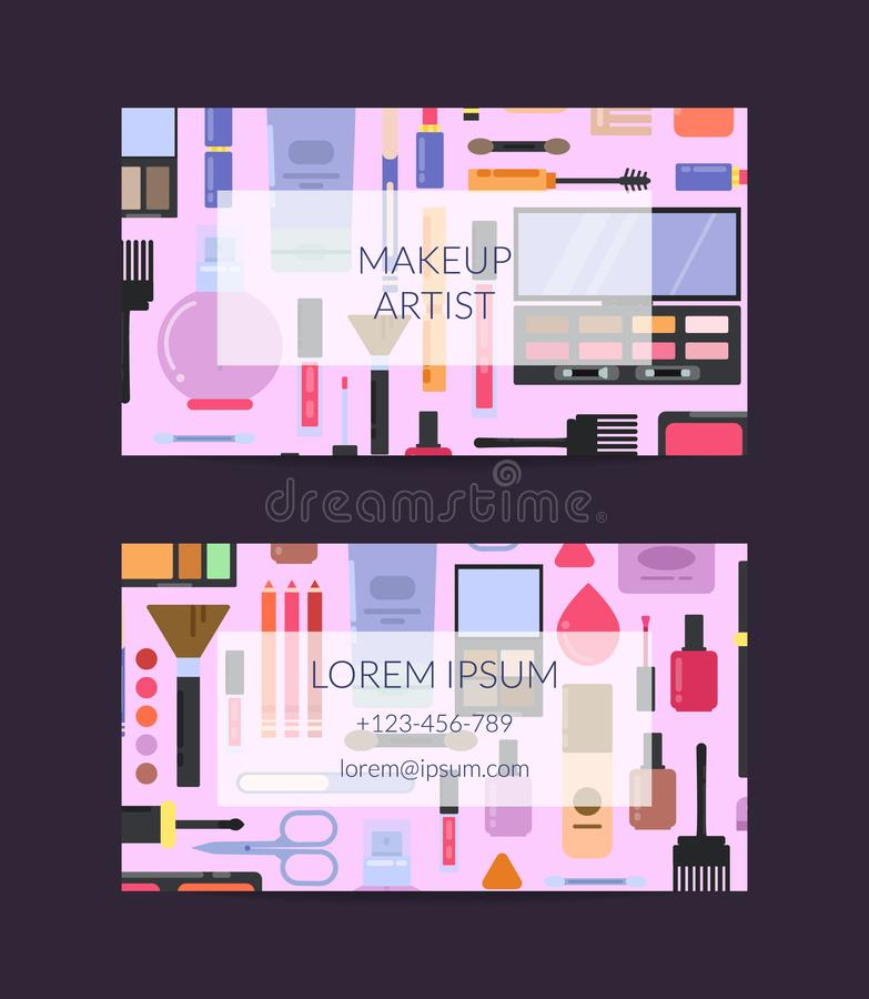 Vector Business Card Template For Beauty Brand Or Makeup Artist With ...