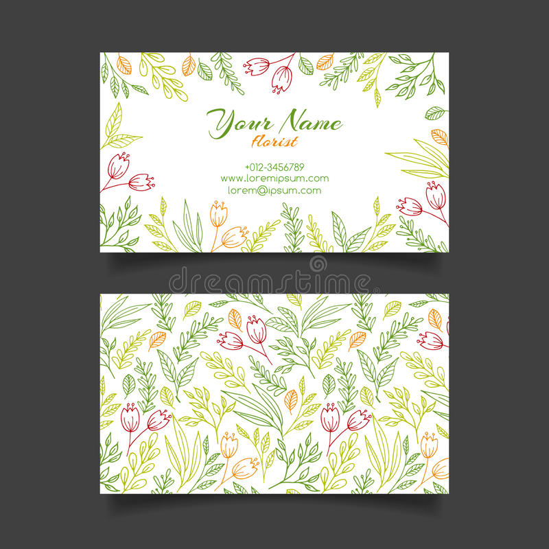 Vector business card template with floral pattern stock illustration