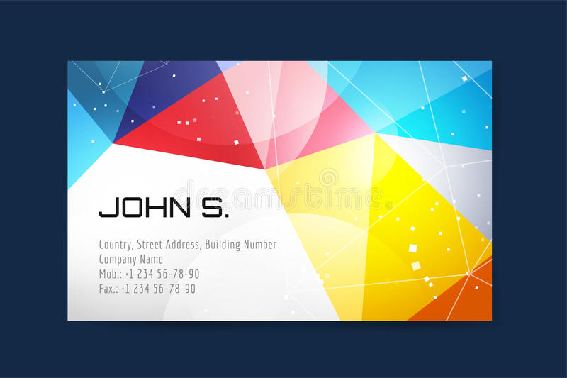 Vector business card template. Globe and ring logo. Icons. Abstract geometric low poly design and creative identity cards. Plank, paper print. Business card royalty free illustration
