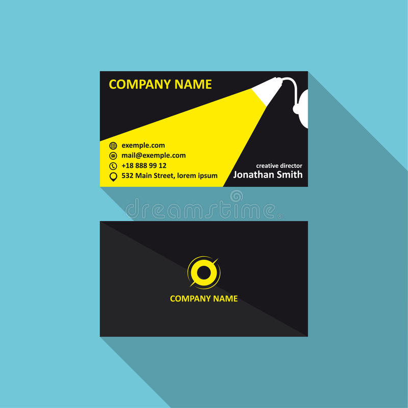 Vector business card template with light concept. Corporae logo, visit and phone number, address. 90x50 proportions. Business card template with light concept royalty free illustration