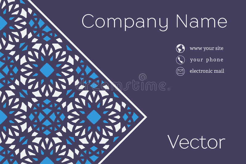 Vector Business Card Template. Ornamental vintage business card. Vector template with mosaic background and contact icons stock illustration
