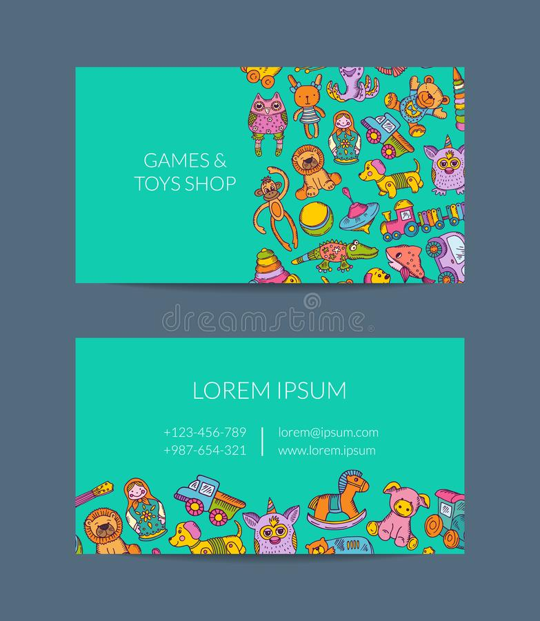 Vector Business Card Template For Shop Kindergarten With Hand Drawn - Kid business card template