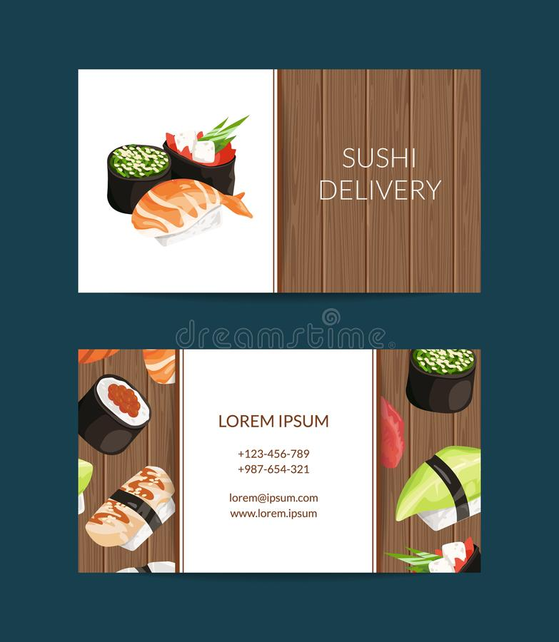 Vector business card templates in cartoon style for sushi. Restaurant or cooking lessons with wooden texture background illustration stock illustration