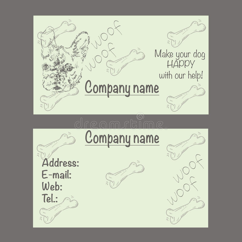 Vector Business Card For Veterinary Clinic Or Pet Shop Stock Vector ...