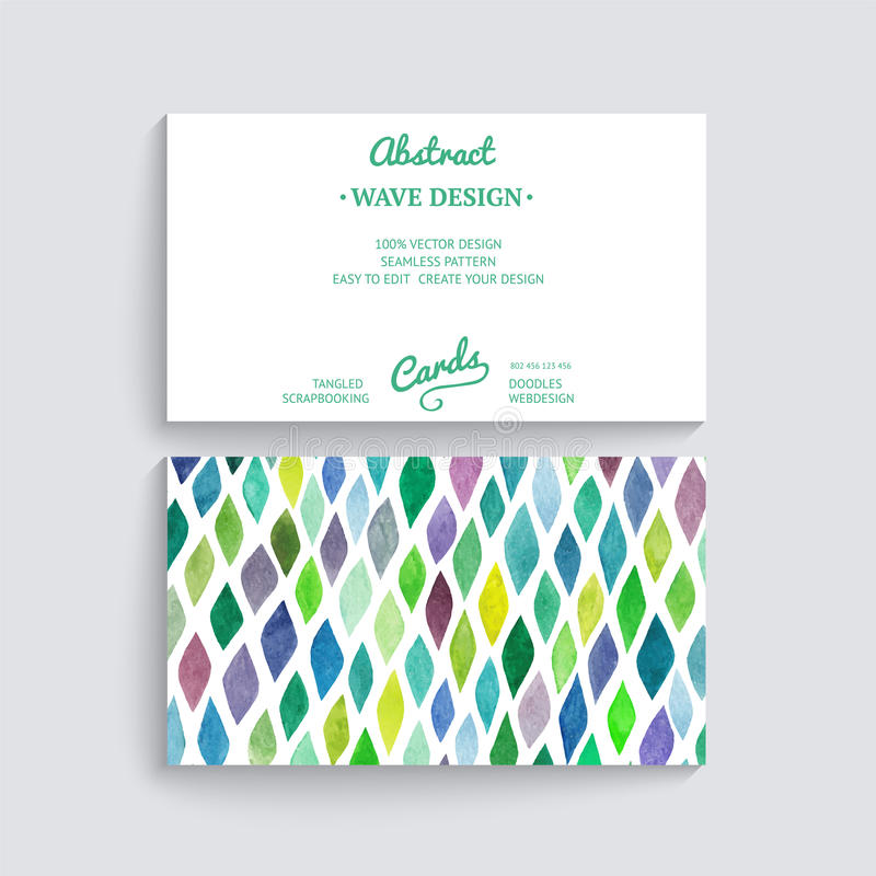 Vector business card with watercolor texture. Invitations or ann vector illustration