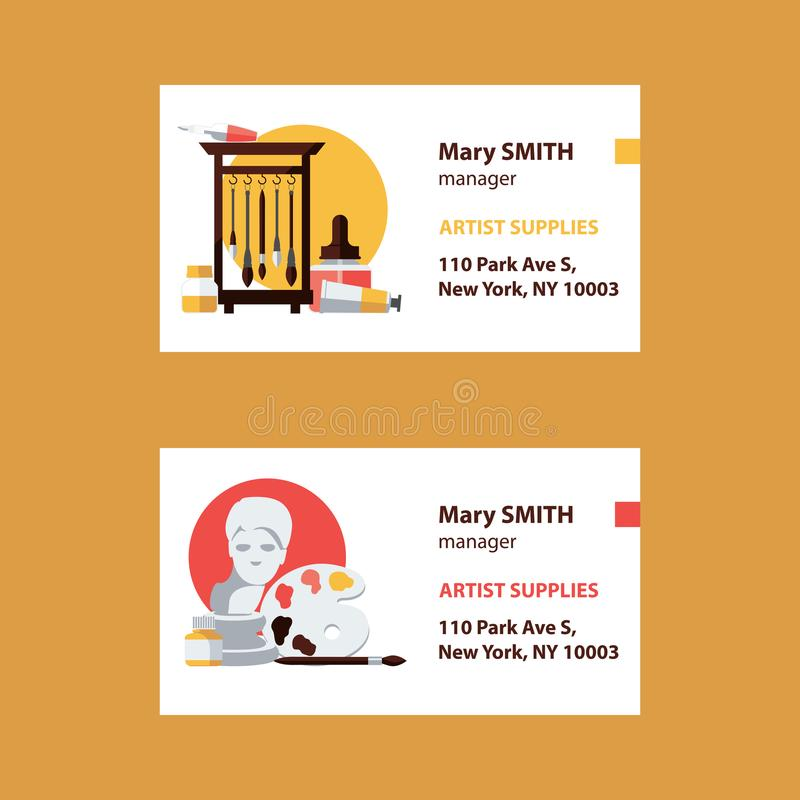 Vector business cards for artist supplies store manager with brushes, gypsum head, ink bottles, palette and text template. Flat ar vector illustration