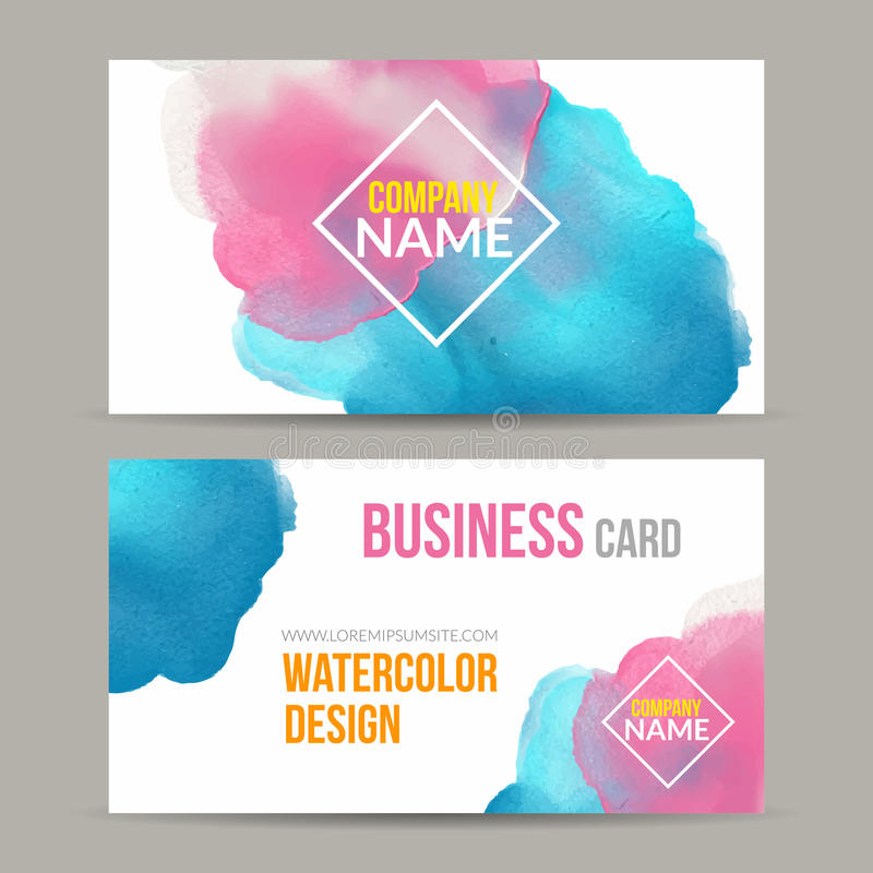 Vector Business Cards Template With Watercolor Paint Abstract - Painter business card template