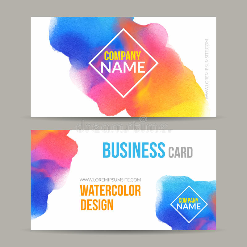 vector business cards template with watercolor paint
