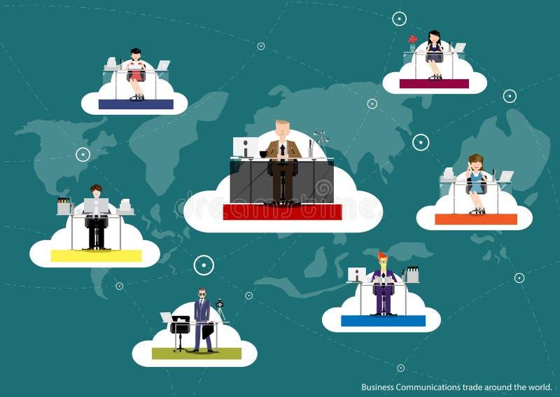 Vector business communications around the world, trading flat design. stock illustration
