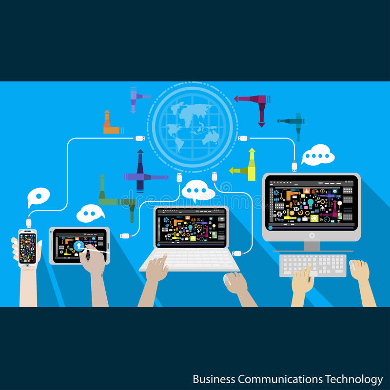 Vector Business Communications Technology with phone tablet laptop and computer. And business icons stock illustration