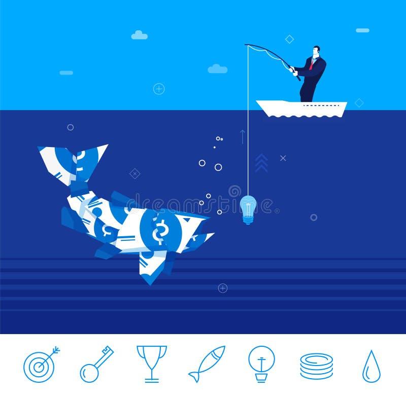 Vector business concept illustration. Businessman fishing. Flat design vector concept illustration. businessman catching fish from the money on the idea . Good stock illustration