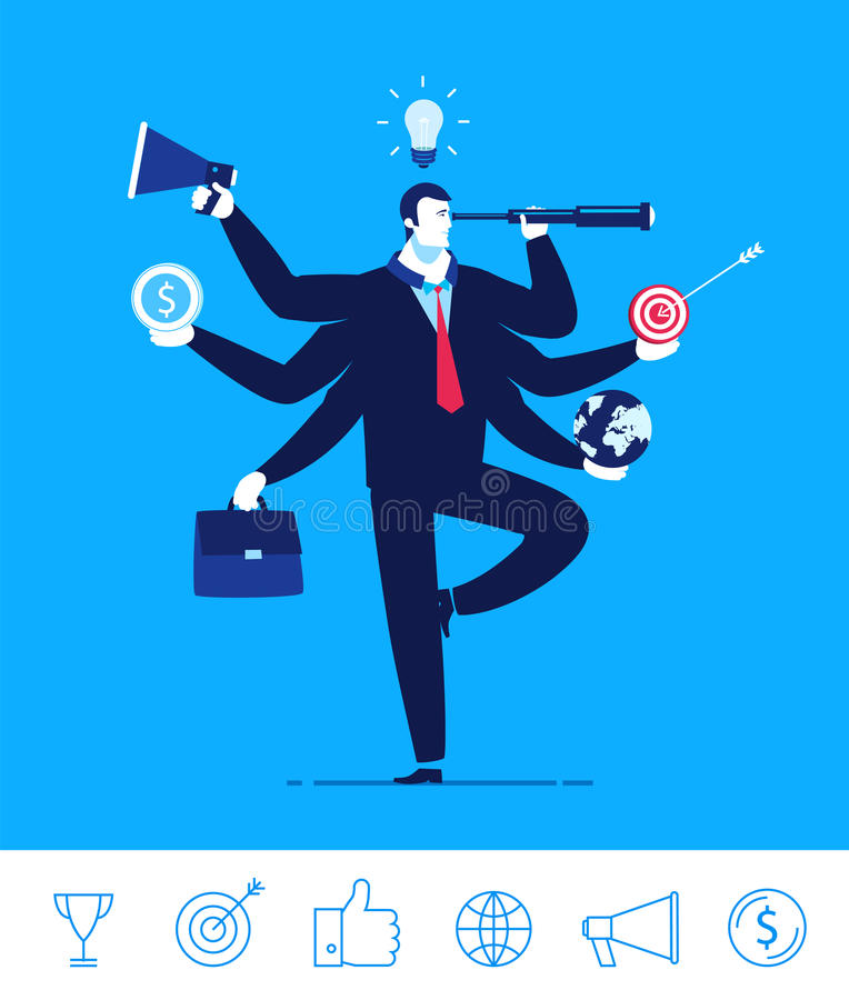 Vector business concept illustration. Businessman with six hands holding objects multitasking and multi skill vector illustration