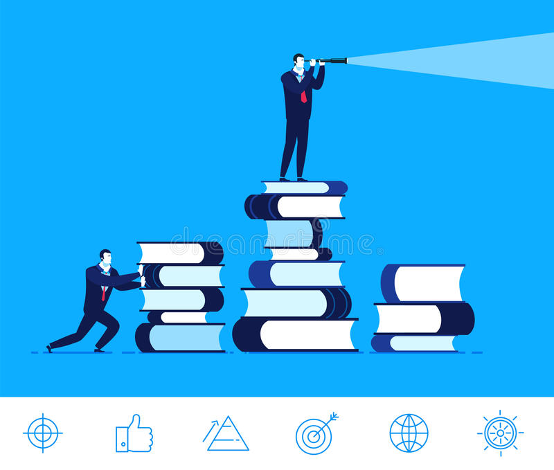 Vector business concept illustration. Businessman standing on a books royalty free illustration