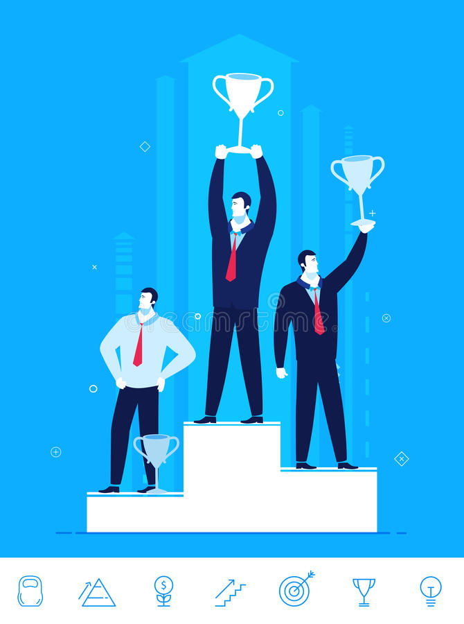 Vector business concept illustration. Businessmen standing with prizes for good work. Flat design vector concept illustration. Teamwork. Businessmen standing royalty free illustration