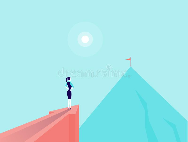 Vector business concept illustration with business lady standing on big arrow pointing on mountain peak. Office woman watching at new top. New aim, goal stock illustration