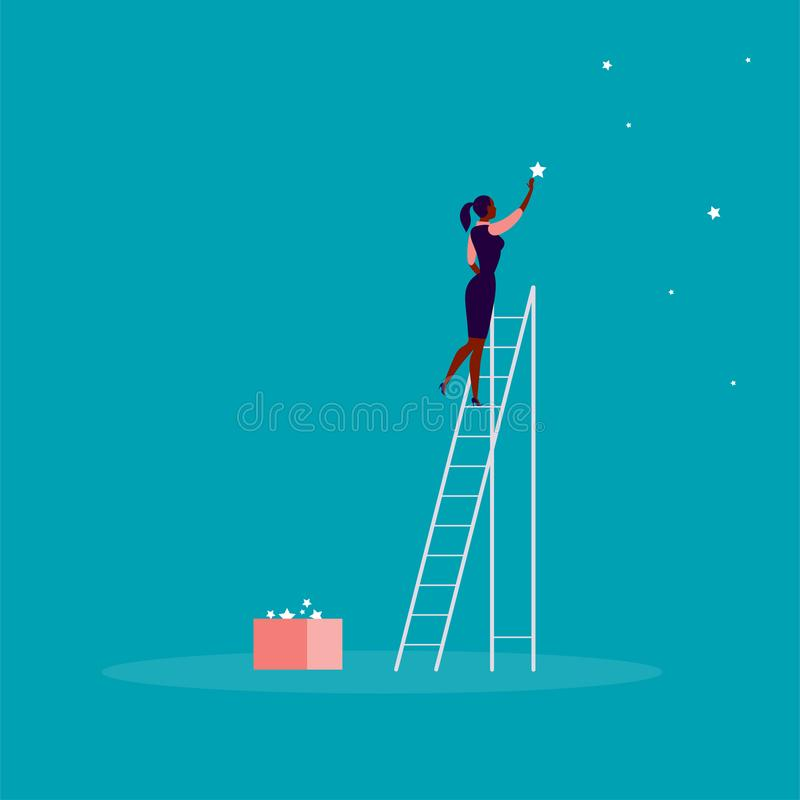 Vector business concept illustration with business lady standing on stairs and reaching star on the sky. Blue background. stock illustration