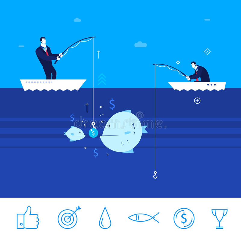 Vector business concept illustration. two businessmen collect chart. Flat design vector concept illustration. Two businessman on fishing. good production. Good royalty free illustration