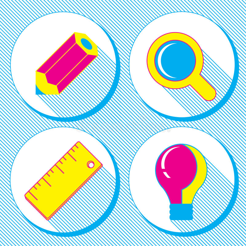 Vector business concept, infographic design elements in flat retro style,set of business icons with a pencil, magnifying glass, ru royalty free illustration