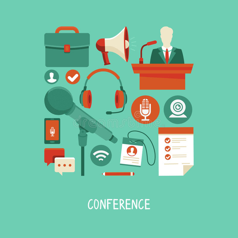 Vector business conference concept in flat style. Webinar and online meeting icons and signs stock illustration
