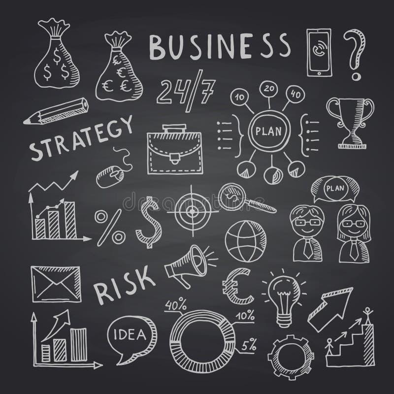 Vector business doodle icons on black chalkboard illustration royalty free illustration