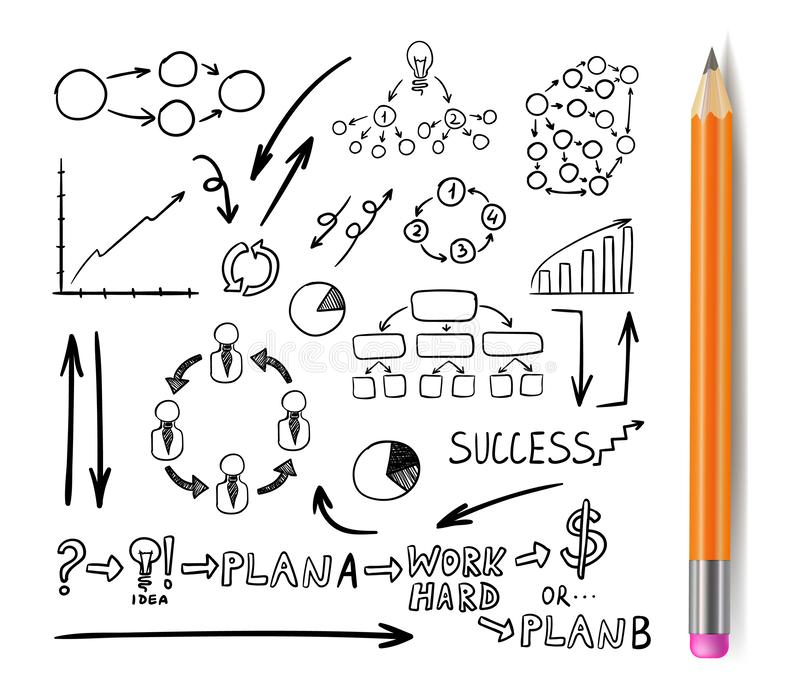 Vector Business Drawn Elements with Realistic Pencil, Doodles Set, Black Drawings Isoalted. stock illustration