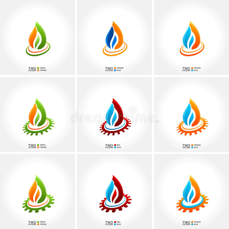 Vector business emblem fire water set icon stock illustration