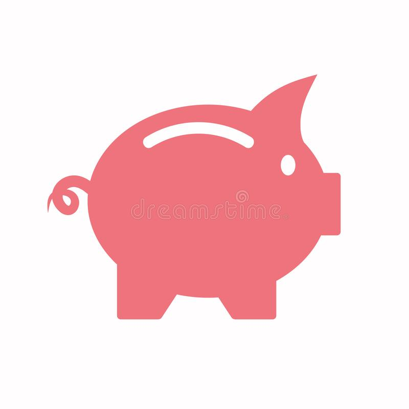 Vector business flat piggy bank icon isolated on a plain background royalty free illustration