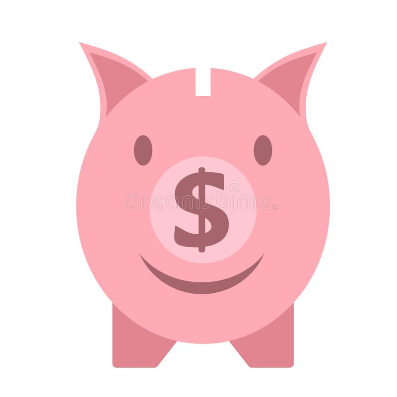 Vector business flat piggy bank icon isolated on white background stock illustration