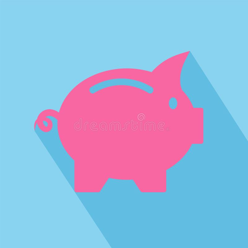 Vector business flat piggy bank icon with long shadow on blue ba royalty free illustration