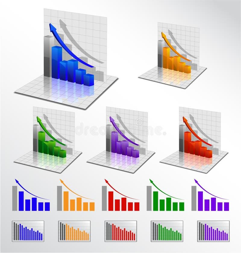 Vector business graph set vector illustration
