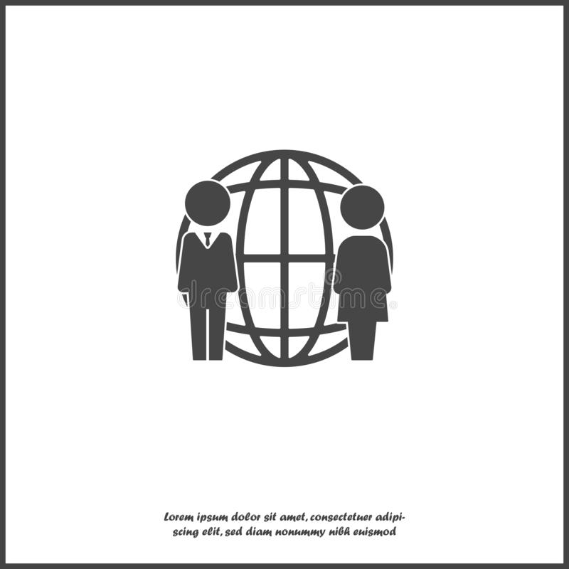 Vector business icon people standing next to a worldwide network. World royalty free illustration