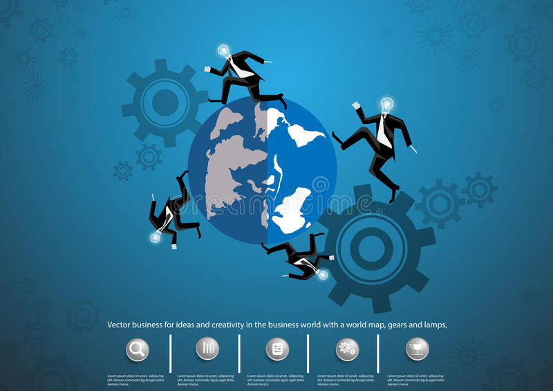 Vector business for ideas and creativity in the business world with a world map, gears and lamps, flat design stock illustration