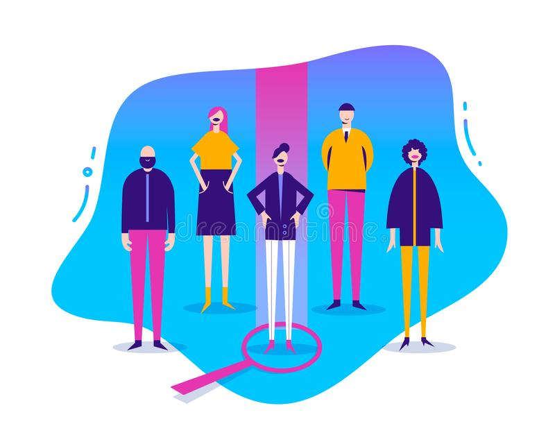 Vector business illustration, stylized characters. Human resourse, hr con ept. Job search, people. Recruitment banner. Poster Choosing woman royalty free illustration