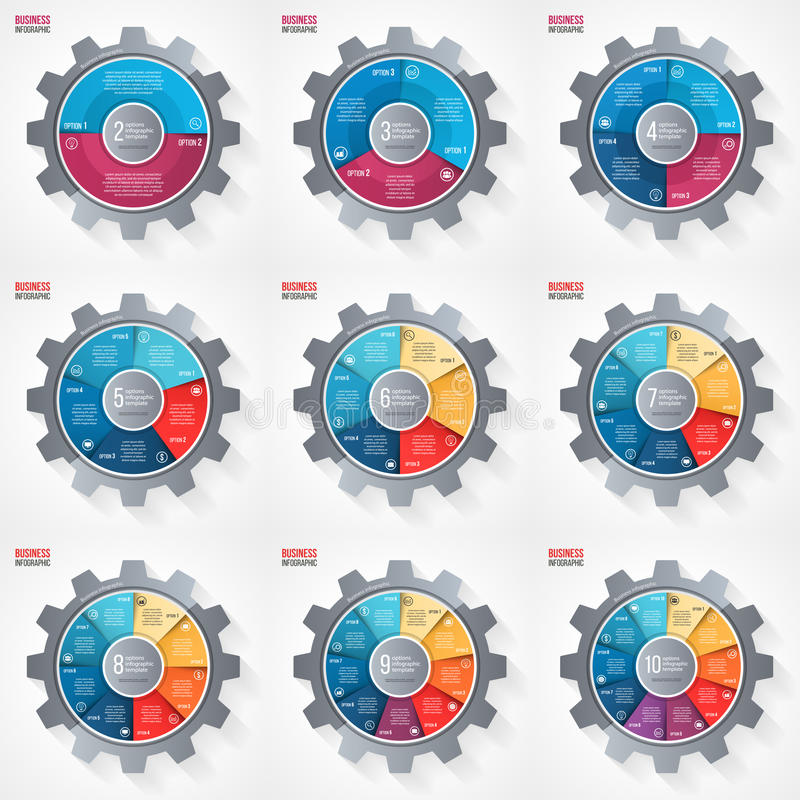 Vector business and industry gear style circle infographic templates for graphs, charts, diagrams and other infographics. Business concept with options, parts vector illustration