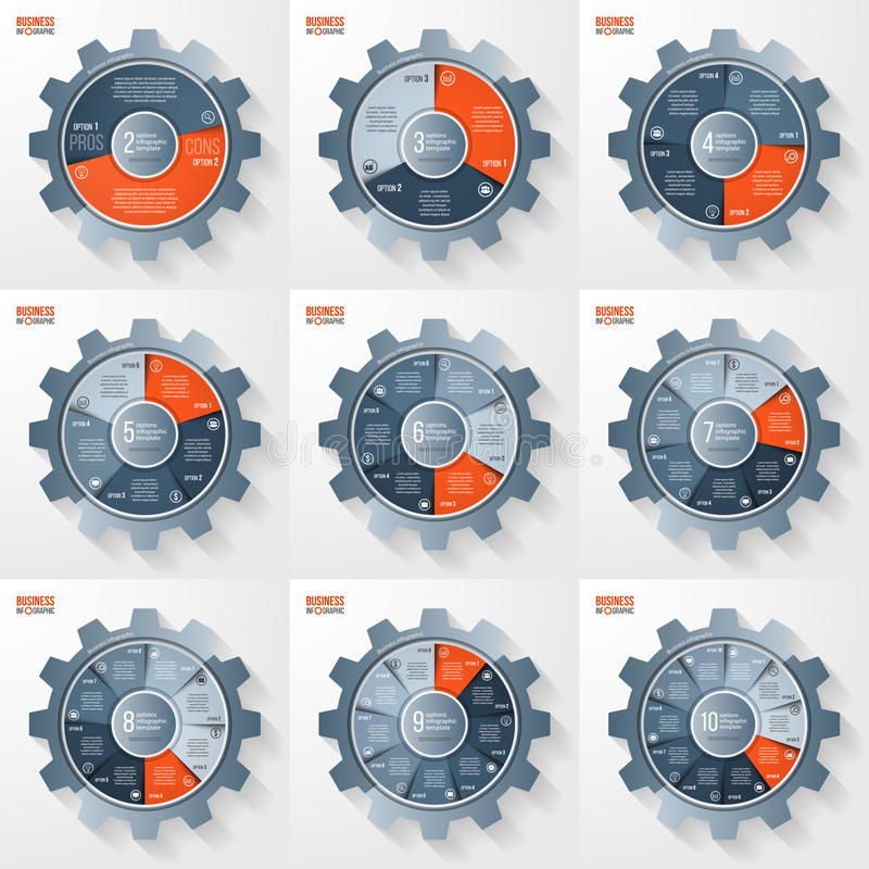 Vector business and industry gear style circle infographic templates set stock illustration