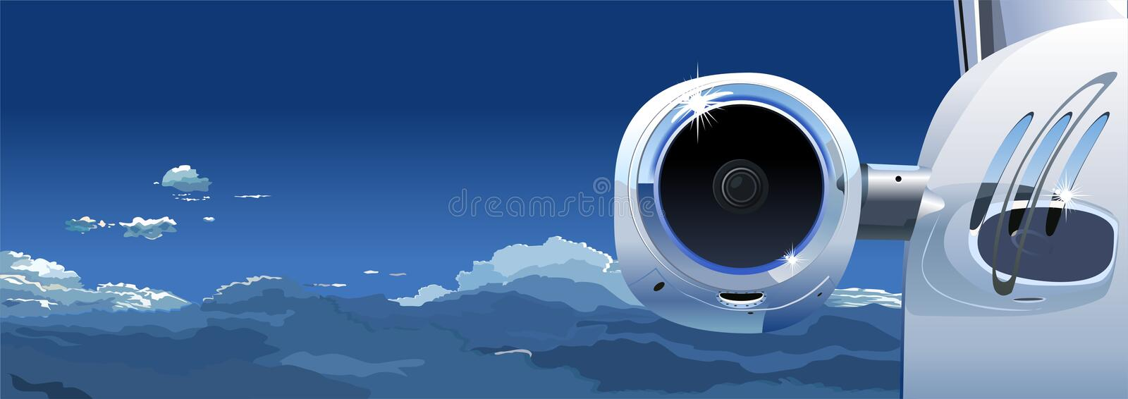 Vector Business Jet at the Sky stock illustration