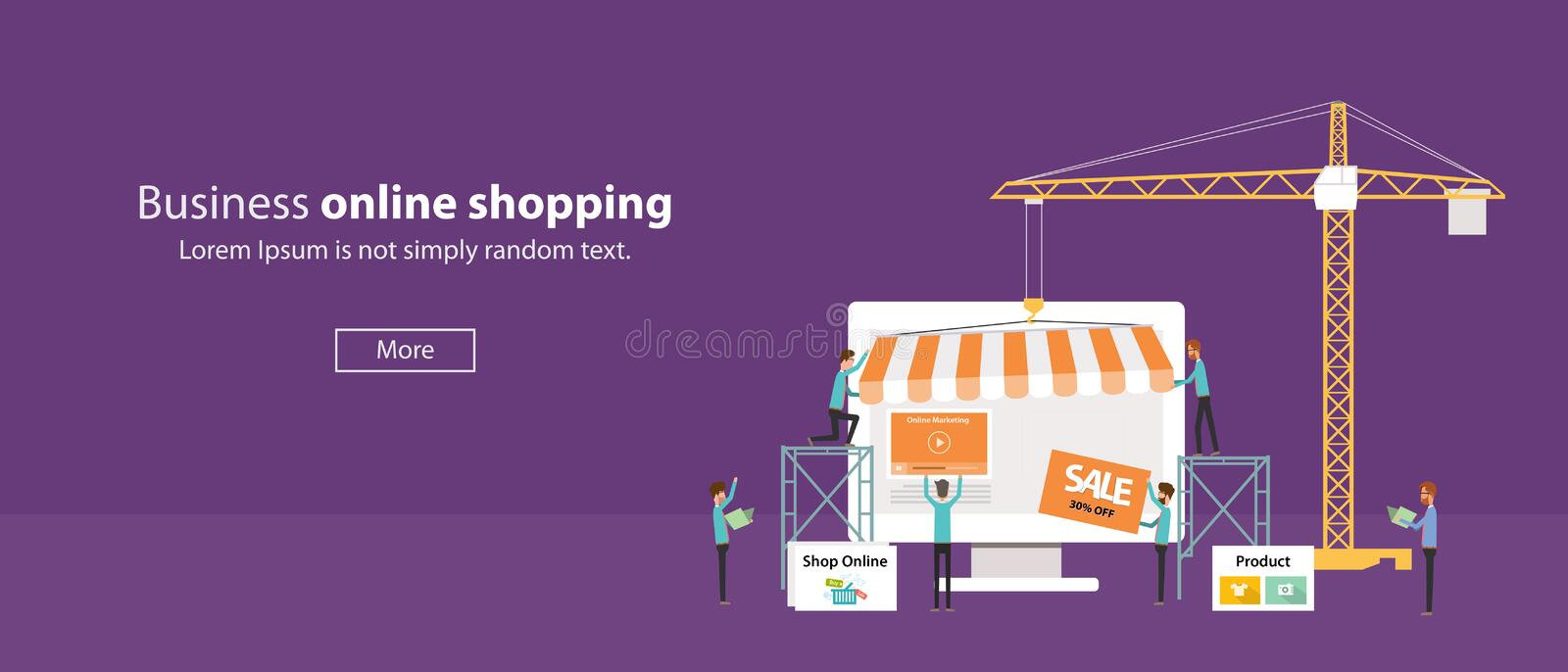 Vector business on line shop .Create On line Store.people business .flat banner web. Business creat online shopping concept royalty free illustration