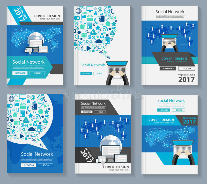 Vector business magazine cover innovation technology social media. Business magazine cover layout design with innovation technology social media and social royalty free illustration