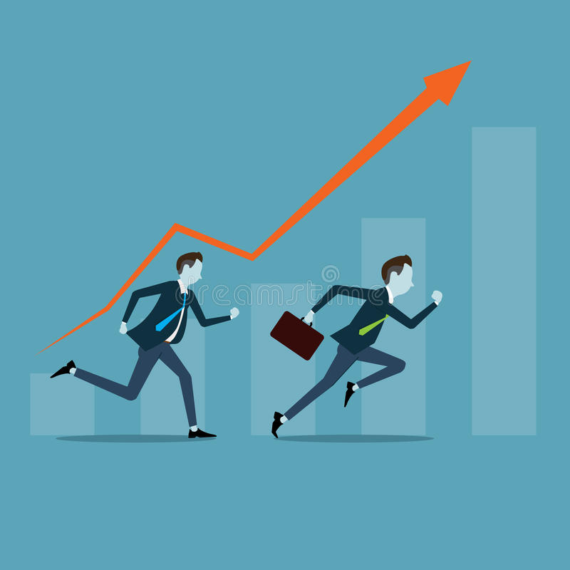 Vector business man competitive with business on target graph. Business competition with time concept stock illustration