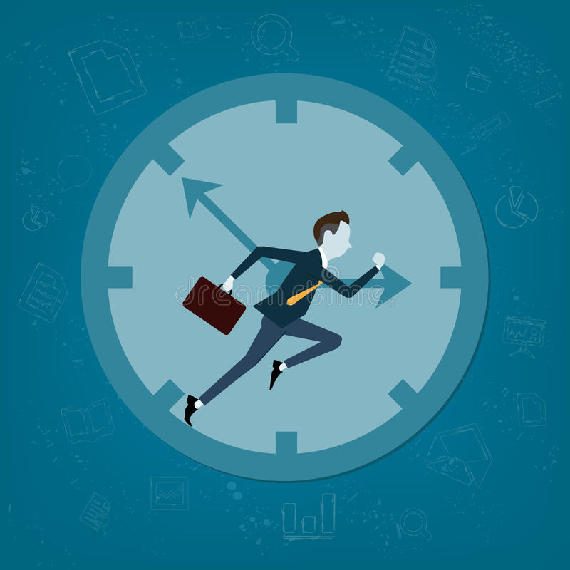 Vector business man competitive with business time. Business competitive with time concept royalty free illustration