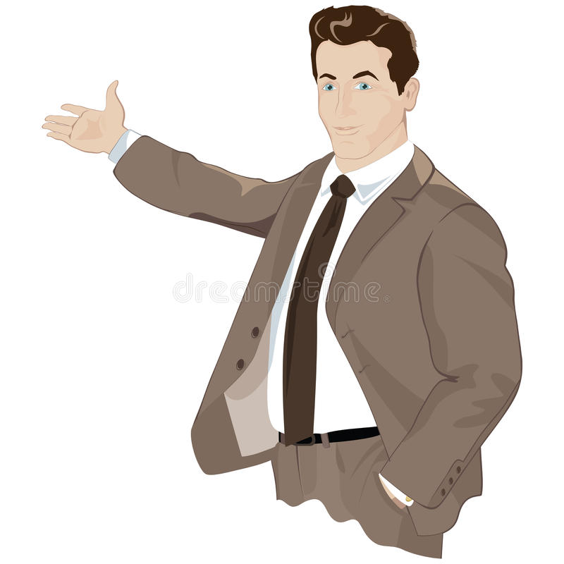 Vector business man shows a hand. royalty free illustration