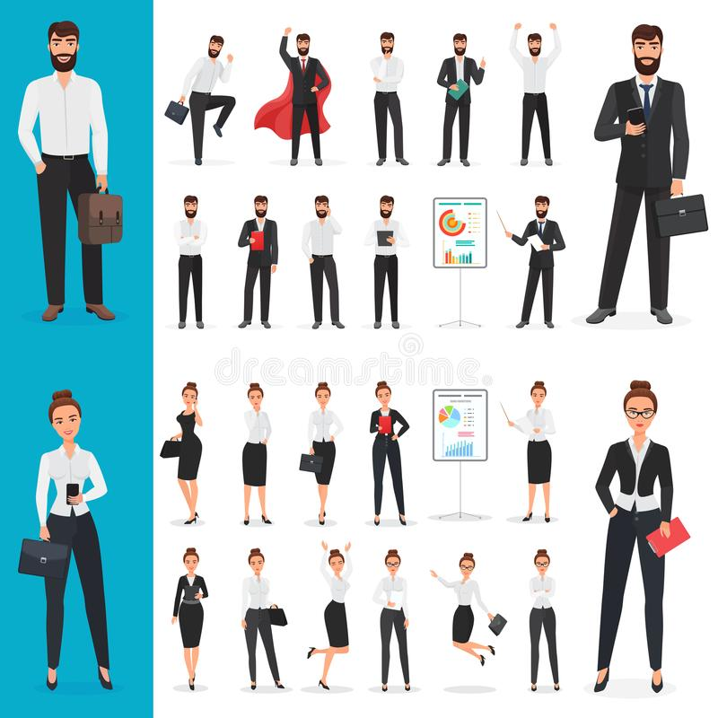 Vector Business man and business woman office character in different poses design set. vector illustration