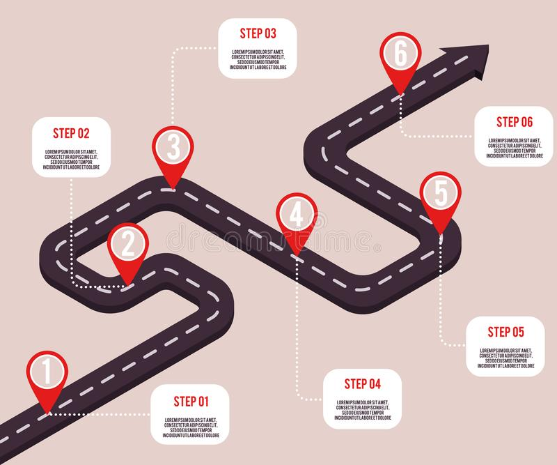 Vector business milestone road with map pointers royalty free illustration