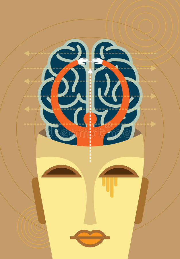 Vector of business mind with arrows royalty free illustration