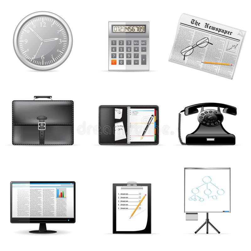 Vector business and office icons. Set of vector business and office icons isolated on white vector illustration