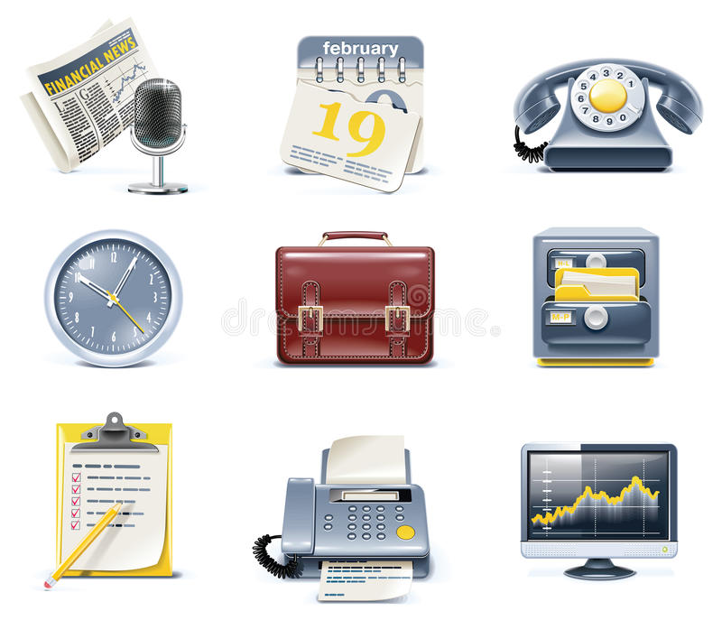 Vector business and office icons. Part 1. Set of detailed business icons in blue and yellow colours