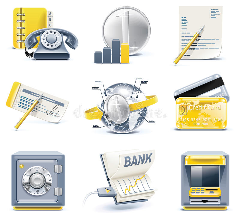 Vector business and office icons. Part 2 royalty free illustration